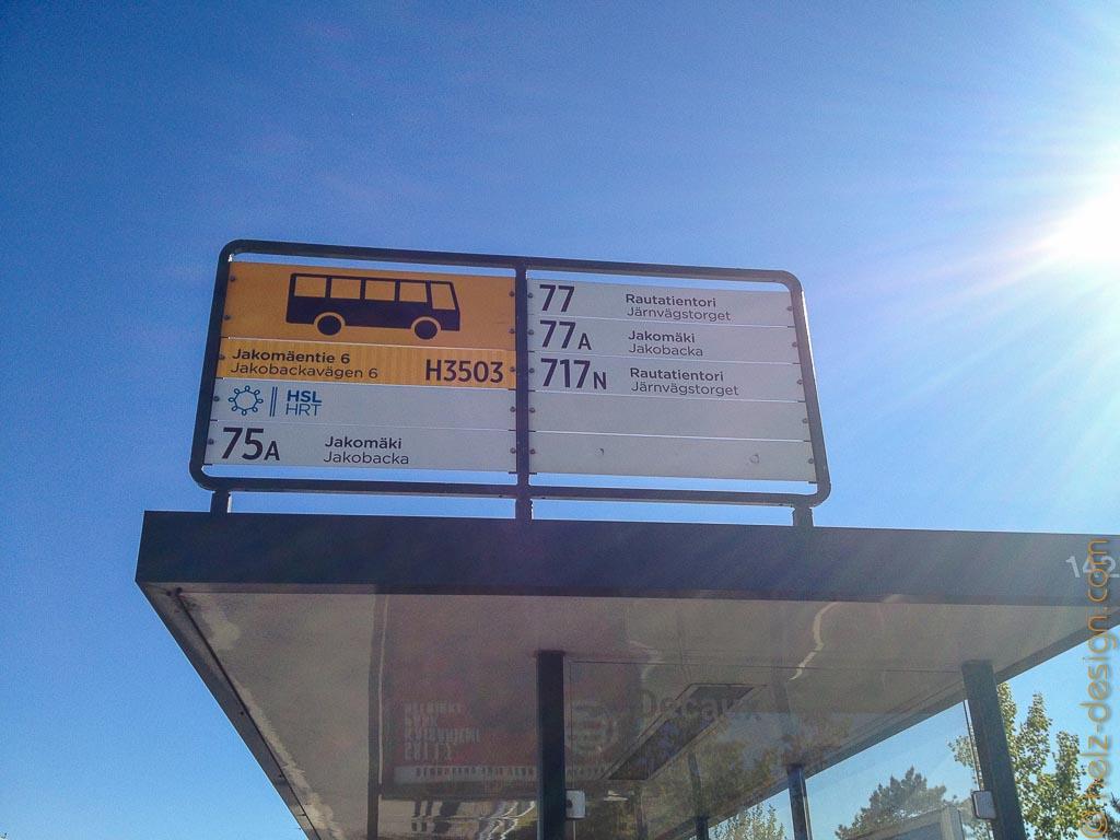 Unsere Busstation in Jakomäki