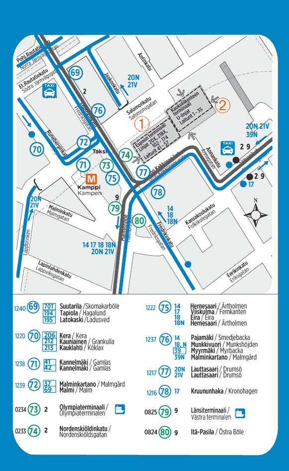 Karte der Bussteige am Kamppi