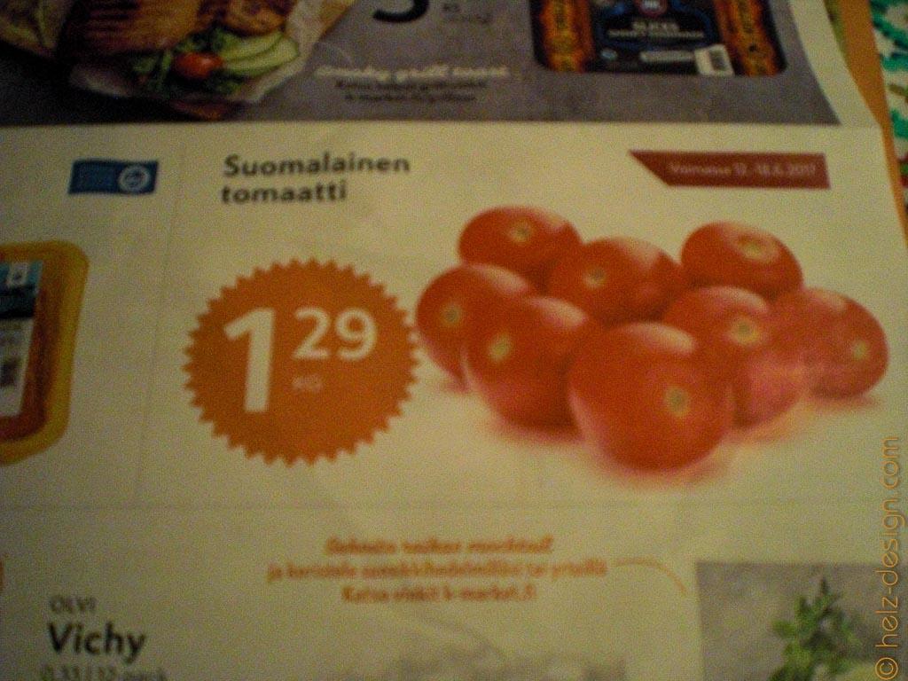 Finnische Tomaten können doch recht günstig sein.