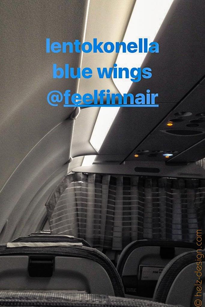 Im Flugzeug mit Finnair … die blauen Flügel :D