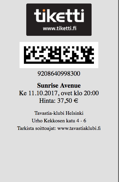 Handyversion des Tickets