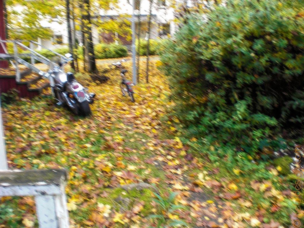 Garten in der Mikkolankuja mit Harley