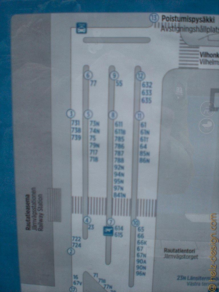 Abfahrtstellen der Busse am Rautatientori