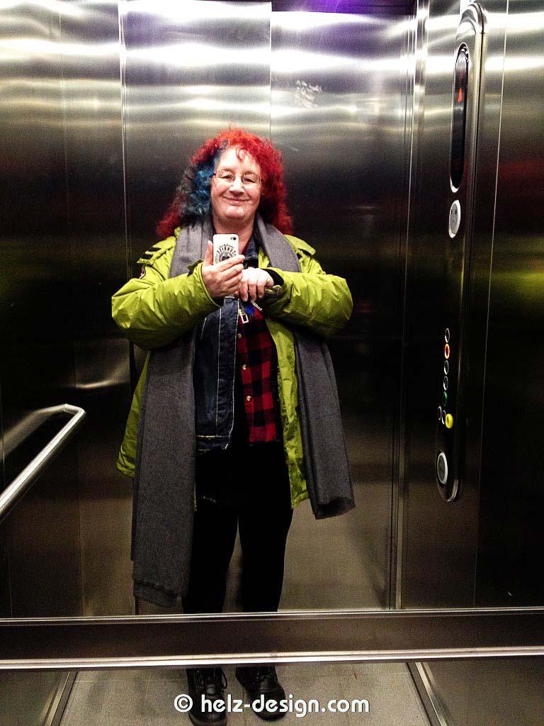 Der Autor im Aufzug