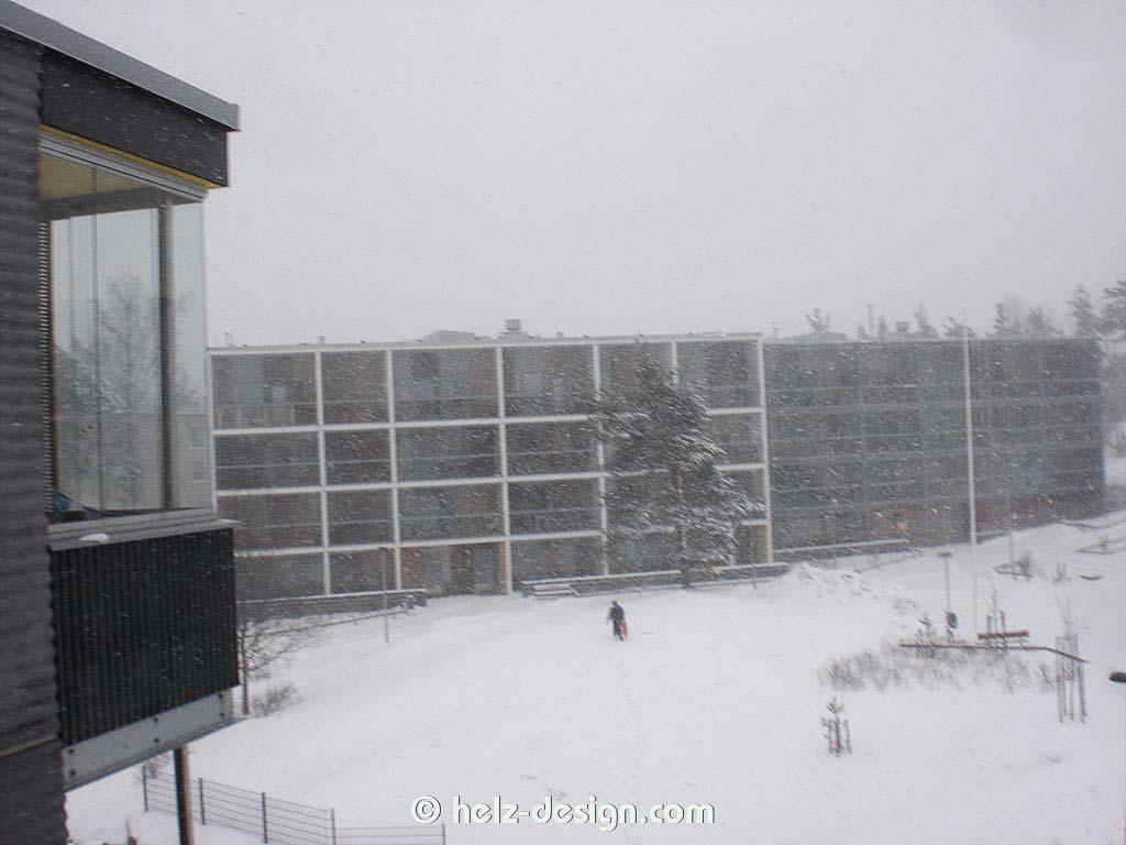 Jakomäki im Schneesturm