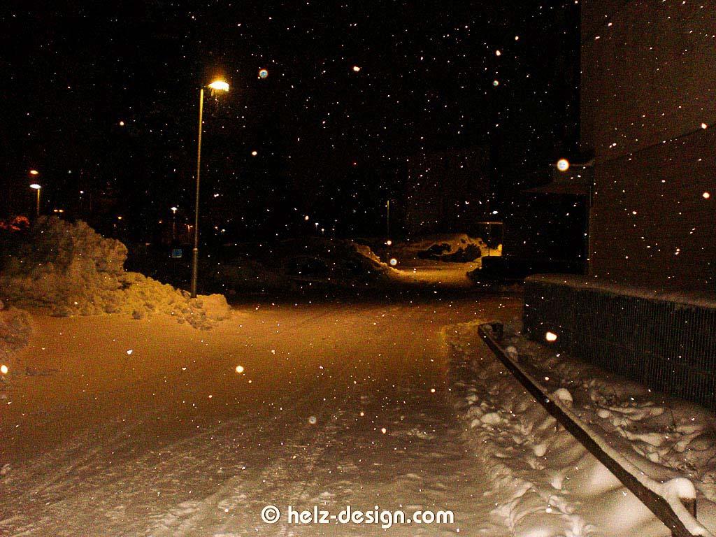 Schneetreiben am Abend