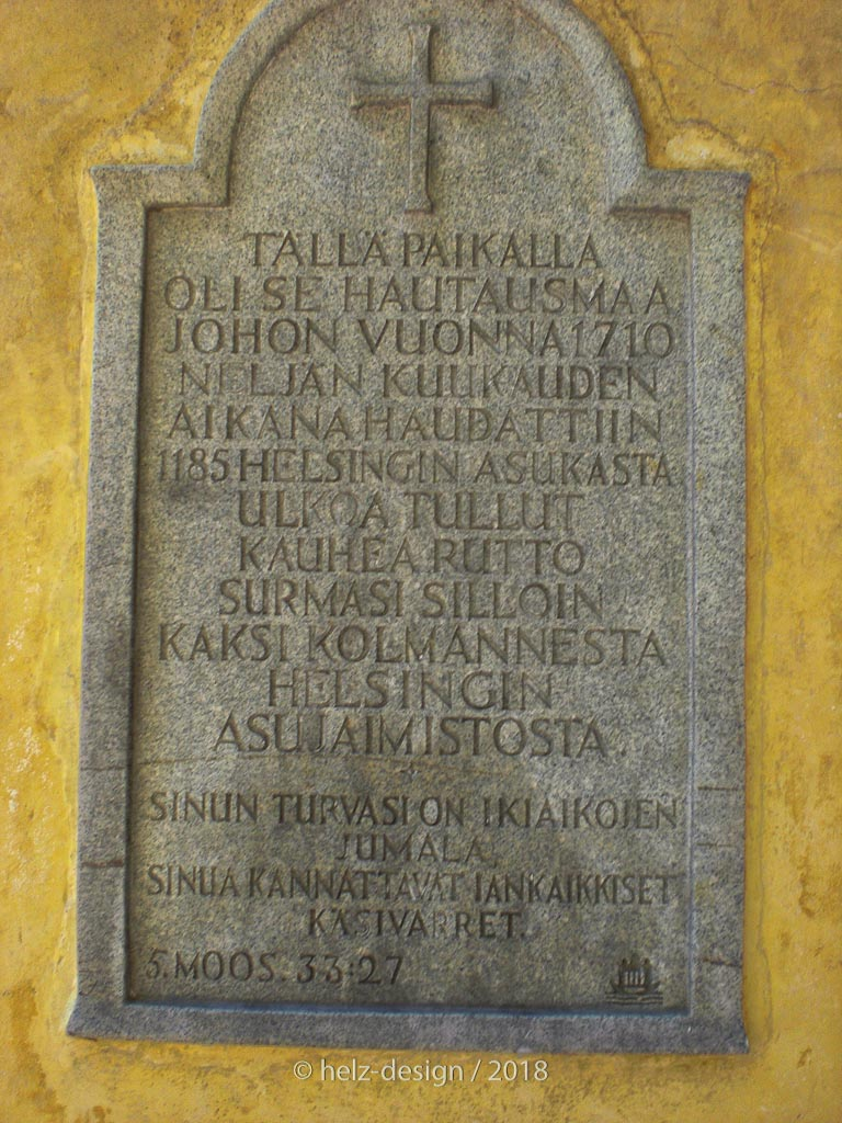 Inschrift am Eingangstor in Finnisch