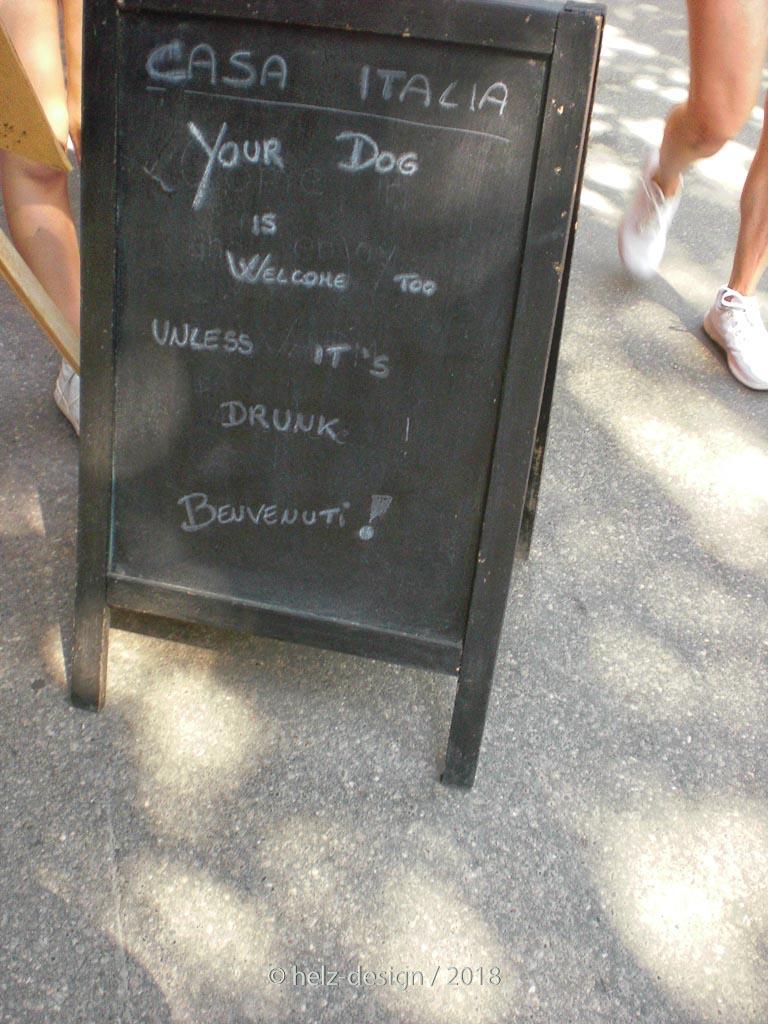 Hunde sind willkommen, solange sie nicht betrunken sind!