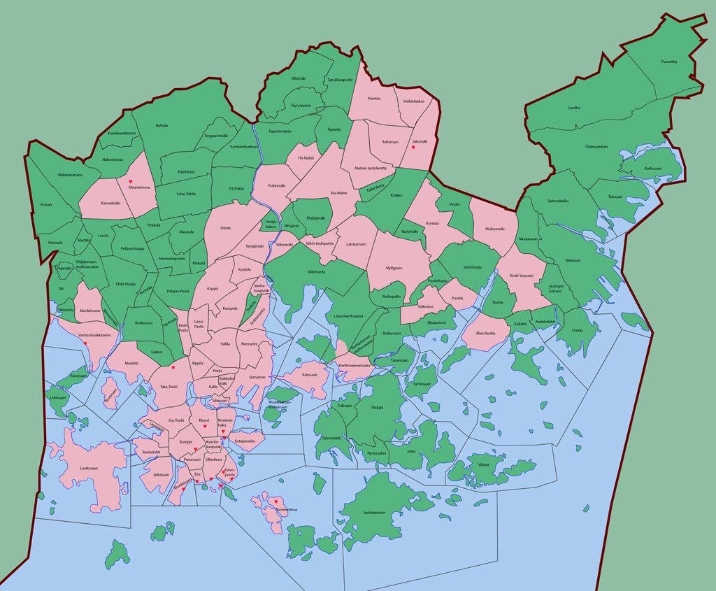 Wo ich schon in Helsinki war –rosa – wo ich wieder hin muß – auch rosa, wo ich noch Neuland entdecken muß– dunkles grün