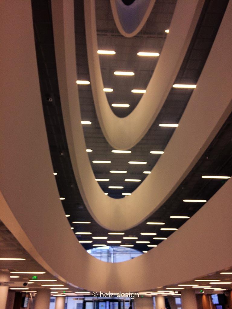 Die Spirale zeigt die einzelnen Stockwerke im Kaisatalo