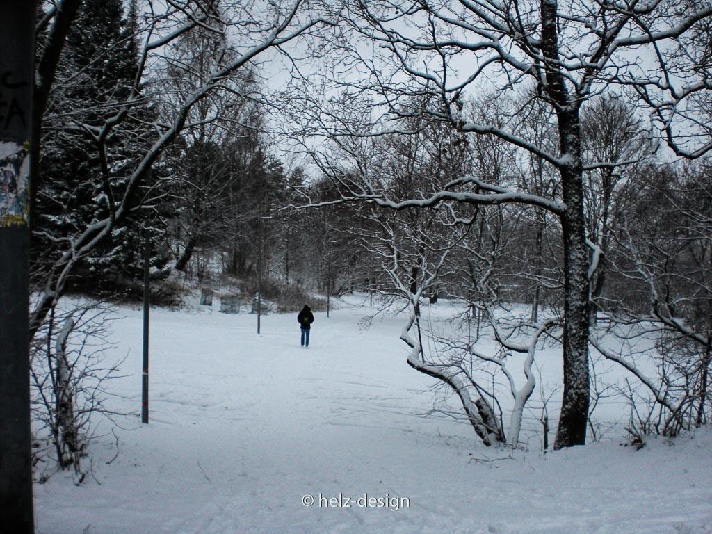 Ein Mann durchschreitet den Park