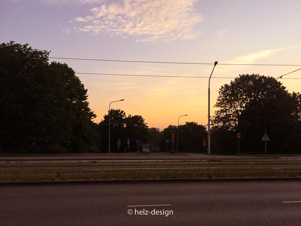 Sonnenuntergang auf dem Weg nach Hause