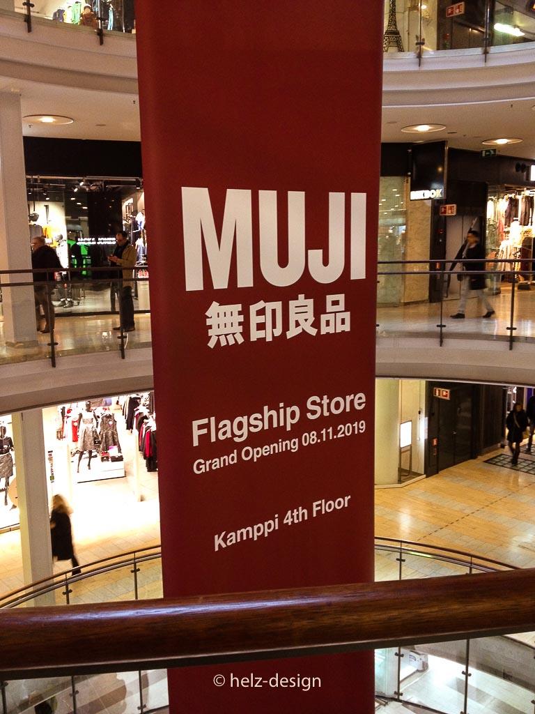 Werbung für Finnlands ersten Muji Store
